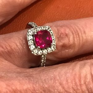 Sterling Silver synthetic red ruby & CZ Ring